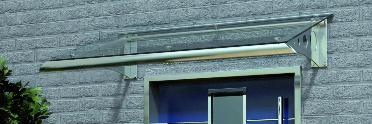 Vordach FEHMARN mit formschönen Stützkonsolen