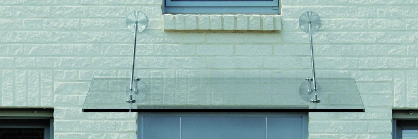 Vordach Norderney Echtglas 2-Punkt-Abhängung
