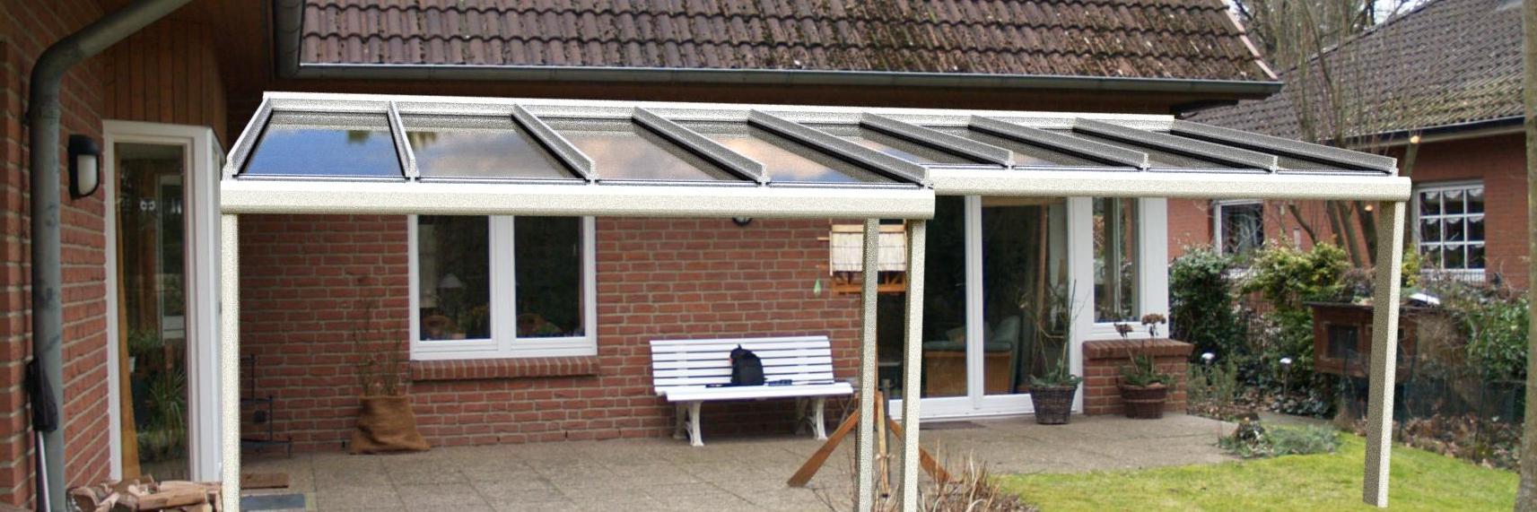 Terrassendach mit Treppung